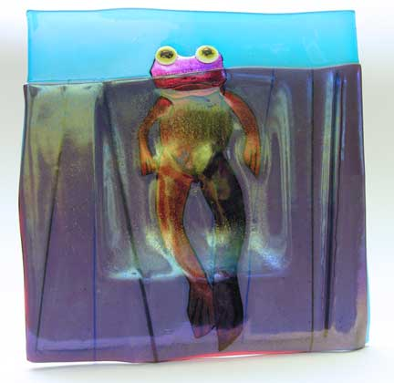 Glass Art Floating Frog