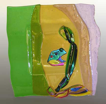 Glass Art Sitting Frog